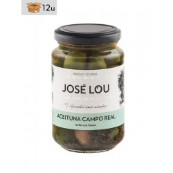 Aceituna Campo Real verde con hueso José Lou. Pack 12 x 355 g