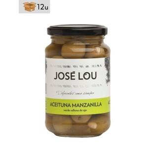 Aceituna Manzanilla rellena de ajo José Lou. Pack 12 x 355 g