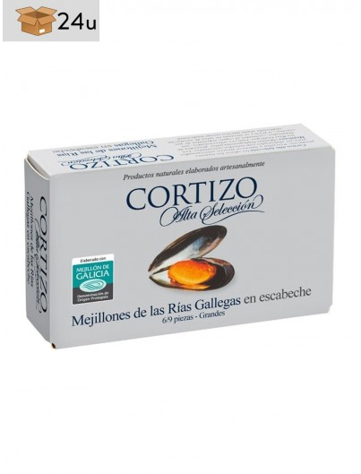 Galician Mussel PDO in pickled sauce Cortizo. Pack 24 x 111 g