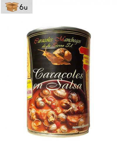Caracoles Manchegos Hélix Aspersa Müller en salsa. Pack 6 x 415 g