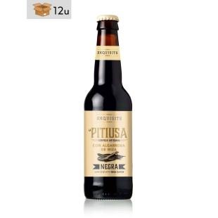 Handwerklich hergestelltes schwarzes Bier Pitiusa mit Johannisbrot aus Ibiza. Pack 12 x 33 cl