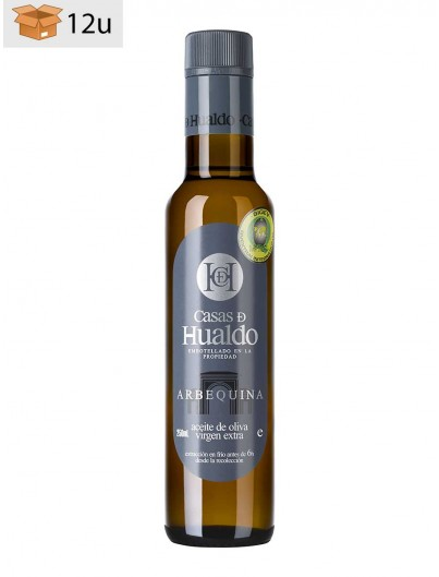 Arbequina Extra Virgin Olive Oil Hualdo. Pack 12 x 250 ml